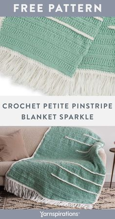 Free Crochet Petite Pinstripe Blanket Sparkle pattern using Bernat Blanket Sparkle Yarn. This soothing crochet blanket is fresh and modern for today's contemporary homes. Linked treble crochet stitches create a subtly textured ground for raised contrast pinstripes. Pattern also features the reverse single crochet (crab stitch) technique. #Yarnspirations #FreeCrochetPattern #CrochetAfghan #CrochetThrow #CrochetBlanket #CrabStitch #BernatYarn #BernatBlanketSparkle Afghan Patterns, Crochet Blanket Patterns, Treble Crochet Stitch, Crochet Stitches, Knit Or Crochet, Crochet Hooks, Reverse Single Crochet, Bernat Yarn, Crab Stitch