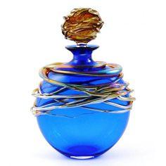 Allister Malcolm Glass Golden Trailing Perfume Bottle Blue Handmade in the UK Blue Perfume, Beautiful Perfume, Antique Perfume Bottles, Vintage Bottles, Parfum Chic, Glas Art, Bottle Art, Fragrance, At Least