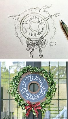 This DIY chalkboard wreath truly is a wreath for any occasion. Here it's ready for Christmas. Just change the greenery and the chalk message to celebrate any season or event. It's a DIY by Stephanie and  Ashleigh of Beckham + Belle. See it on The Home Depot Blog. || @beckhambelle