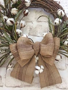 Cotton Wreath Cotton Boll Wreath Fall Wreath by AdorabellaWreaths Wreath Crafts, Diy Wreath, Wreath Bows, Wreath Ideas, Wreath Burlap, Grapevine Wreath, Holiday Wreaths, Autumn Wreaths For Front Door, Spring Door Wreaths