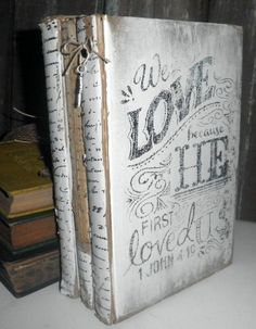 Distressed Old Books Set of 3 Chalk by SecretTreasuresFound