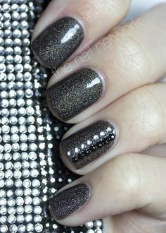 Dark rhinestone nails