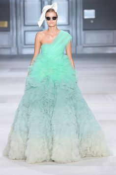 Giambattista Valli Fall 2014 Couture – Vogue ombre mint gown NOW I am in love