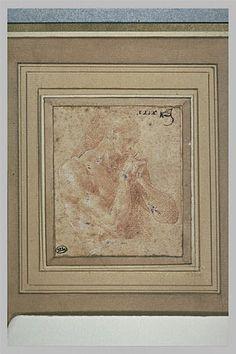 Le Primatice: Homme nu, de 3/4 vers la droite, Le Louvre
