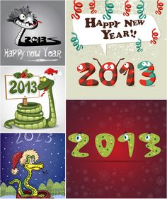Funny cartoon #snake #2013 New Year cards #vector