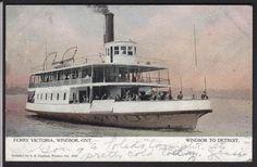 Windsor-Ontario-Ferry Victoria-Detroit-Antique Postcard