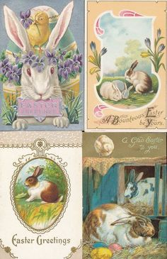 Nice Lot of 4 Bunny Rabbits~ Vintage Antique Easter Postcards-ttt966 #Easter