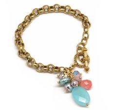 Sky Blue handmade bead cluster bracelet