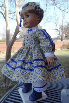 18 Doll Clothes Historical Civil War Era Gown by Designed4Dolls