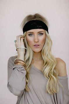 Black Lace + Chain Headband