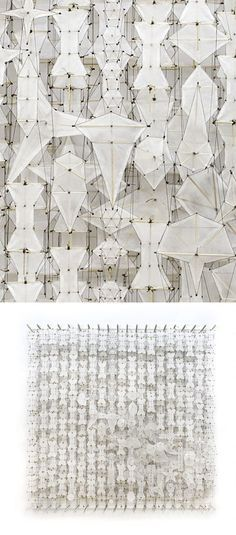 Paper Sculpture with white textures using paper, bamboo & acrylic; contemporary art // Jacob Hashimoto