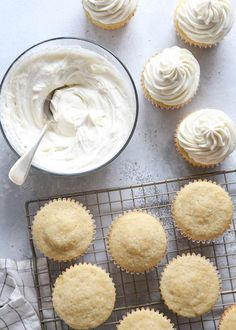Frosting cupcakes with this fluffy whipped vanilla frosting