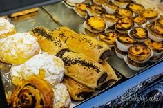 lanche (snack) food in Portugal: sweet-filled pastries