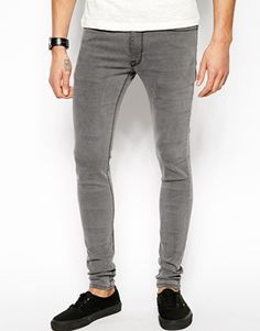 Image 1 of ASOS Extreme Super Skinny Jeans In Light Grey