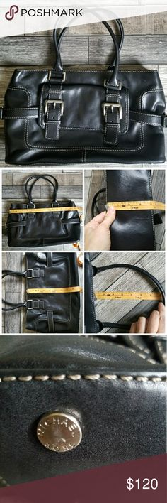 MICHAEL KORS black leather satchel Black leather satchel with contrast stitching and silver toned hardware. Center zip compartment. Some light scratches/ tarnish on hardware. Otherwise in great condition Michael Kors Bags