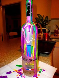 alcohol, art, bottle, bottles, colorful, drink, drinks, france, grey goose, imported, le citron, paint, rainbow, vodka