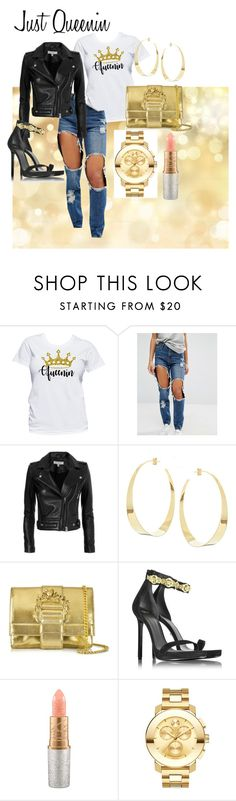 """""""Just Queenin"""" by yeshorra1 ❤ liked on Polyvore featuring Missguided, IRO, Lana, Roberto Cavalli, Versace, Mariah Carey, Movado and queen"""