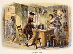 The wine shop, illustration by Phiz 1815-1882 from Tale of two cities by Charles Dickens 1812-1870, 1859