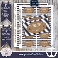 Diaper Raffle Ticket Nautical Diaper Raffle by charmcitycharm