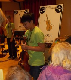 Instrument Petting Zoo viola Richmond Symphony Youth volunteer and guests