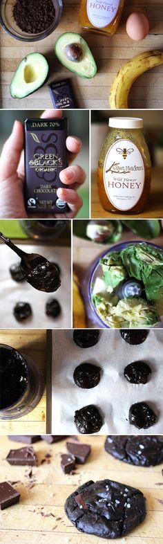 Healthy Dark Chocolate Avocado Cookies with Sea Salt. No Butter! No Flour! No Sugar!