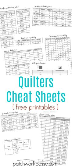 Having sewing printables cheat sheets allow you to do sewing properly. The goal of having the sheet is to let you sew properly without going back and forth to your smartphone or laptop and check a tutorial.Free printable charm squares and layer cake quilt Quilting Tools, Quilting Tutorials, Quilting Designs, Quilting Ideas, Sewing Tutorials, Quilting Rulers, Quilting Projects, Sewing Ideas, Art Quilting