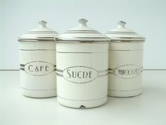 3 large french vintage  ART DECO enamel kitchen canisters signed JAPY. 1920-30's