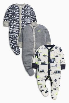 Navy/Ecru Transport Print Sleepsuits Three Pack (0mths-2yrs)