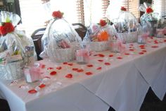 Use themed baskets for the prizes at a bridal shower. Something fun for all ages!