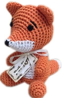 Knit Knacks Crotcheted Kit the Fox Small Dog Toy by Pet Flys - handmade small dog toys - BeauJax Boutique