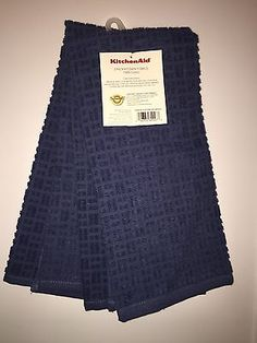 KITCHENAID 2 PACK COTTON TERRY KITCHEN TOWELS BLUE WILLOW NWT