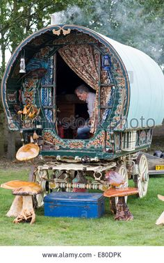 Stock Photo - Gypsy Vardo Traditional gypsy caravan with Romany sitting inside - Stock Photo Bohemian Gypsy, Gypsy Style, Bohemian Decor, Gypsy Trailer, Tyni House, Gypsy Home, Gypsy Living, Shepherds Hut, Camping Glamping