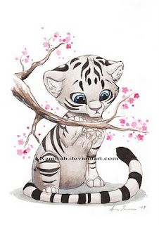 White Tiger With Blossoms