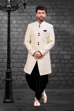 Shop cream indo-western mens short sherwani , freeshipping all over the world , Item code Mens Sherwani, Wedding Sherwani, Sherwani Groom, Punjabi Wedding, Kurta Pajama Men, Wedding Dress Men, Wedding Outfits, Wedding Attire, Wedding Couples