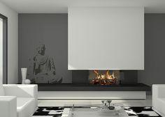 Chimenea moderna modelo Oxford Bedroom Fireplace, Home Fireplace, Modern Fireplace, Living Room With Fireplace, Bioethanol Fireplace, Fireplaces, Master Bedroom Interior, Interior Design Living Room, Contemporary Fireplace Designs