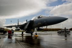 A theater security package of F-15C Eagles assigned to the 159th Expeditionary Fighter Squadron is parked on the flightline at Leeuwarden Air Base, Netherlands, April 1, 2015. The F-15s from the Florida and Oregon Air National Guard are deployed to Europe as the first ever ANG TSP here. These F-15s will conduct training alongside our NATO allies to strengthen interoperability and to demonstrate U.S. commitment to the security and stability of Europe. (U.S. Air Force photo/ Staff Sgt. Ryan…