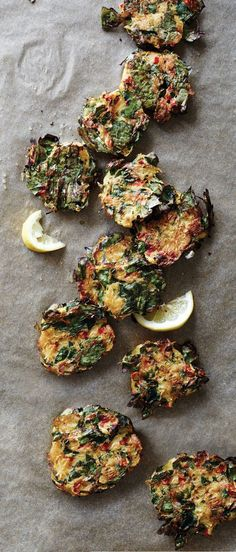 A lightly spicy combination of spinach and spaghetti squash is shaped into crisp oven-baked fritters. #Fritters #Spinach #Spaghetti_Squash #Vegetarian