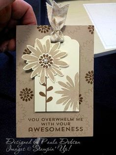 Stampin' Up! ... handmade card with tag from Stampinantics  ... monochromatic browns ... tag as focal point with flower ... like it!!