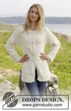 """Casaco DROPS com encaixe arredondado e ponto texturado, tricotado de cima para baixo ou em top down, em """"Alaska"""". Do S ao XXXL. ~ DROPS Design"""