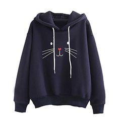 99e9856f5471 Tefamore Sudadera con Capucha para Mujer Adolescentes Chicas Manga Larga  con Estampado de Gato Blusas Casual Hoodies