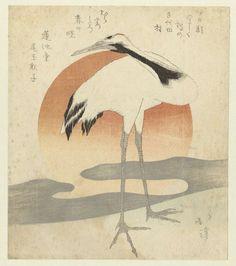 Kraanvogel voor de eerste zonsopgang van het jaar, Totoya Hokkei, Renchidô Ogyoku Shakushi, ca. 1821