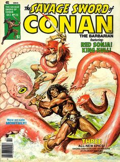 "Wizards of the Black Sun, from ""Savage Sword of Conan"" n. 23 (october 1977) Cover di Earl Norem #Marvel #RedSonja #Fantasy"