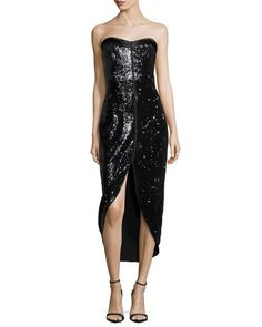 Strapless Sequined Cocktail Dress, Black by Halston Heritage at Neiman Marcus.