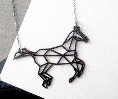 black horse necklace, geometric jewelry, geometric horse