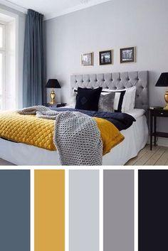 Warm Winter Navy, Gray and Goldenrod #Bedroomdesignideas