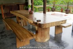 Large Dining Table Natural Wood Dining Table Bench Dining Furniture Bali Java Indonesia