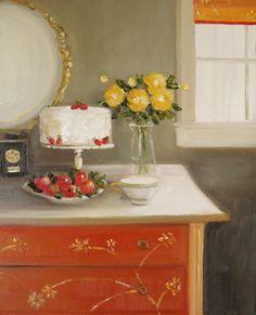 Darjeeling Tea And A Cream Cake Original Oil by janethillstudio