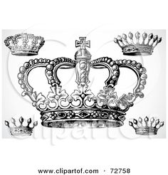 crown tattoos for girls | ... Digital Collage Of Black And White Vintage Crown Designs by BestVector