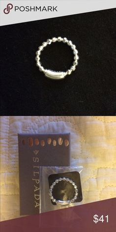 "Silpada Stretch Ring Silpada Italian Sterling Silver Stretch Ring. NWT Never worn. "".925"" Sterling Silver Ball Bead Retired Silpada Jewelry Rings"