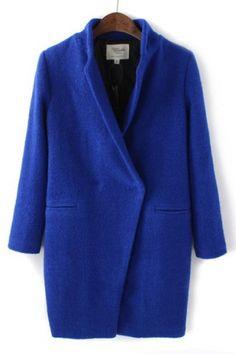 Cobalt Wool Cocoon Coat